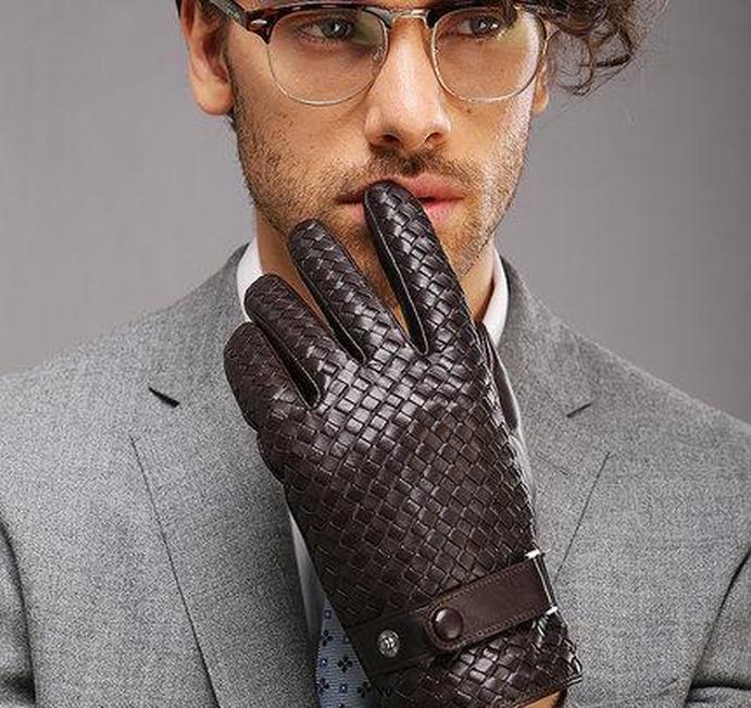 Mode Handschuhe für Männer Neue High-End-Webart Echtes Ledersolid Handgelenk Sheepskin Handschuh Mann SQCQKP DH_SELLER2010