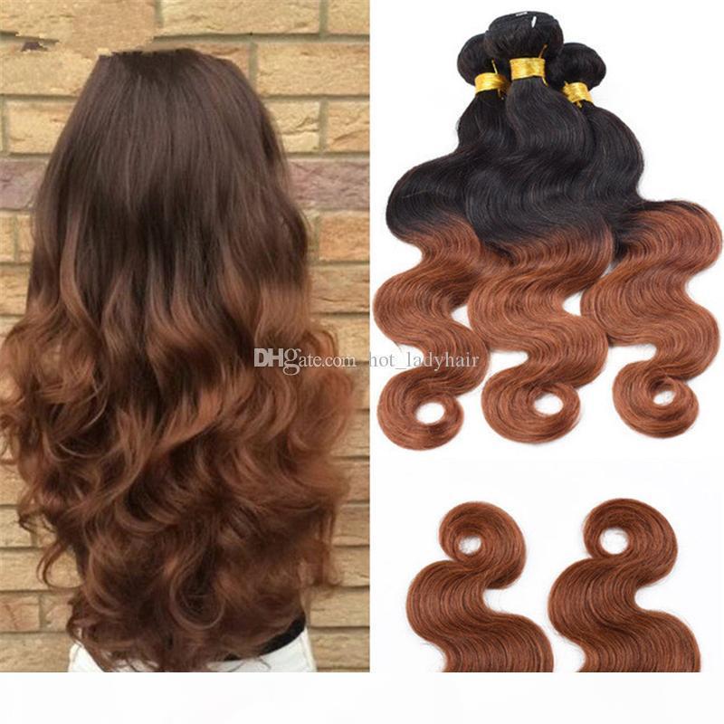 """Pelo humano brasileño Ombre Body Wave Bundles 3pcs Lot 10 """"-30"""" Ombre 1b 30 Extensiones de cabello humano Dos tonos Brasileño Human Hair WEAV"""