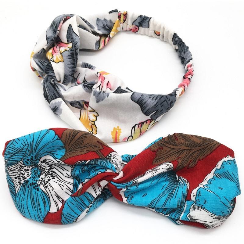 Шелковый крест повязка на голову женщин девушка печатает эластичные полосы волос шарф ретротурбанские заголовок для волос цветы колибри орхидеи ювелирные изделия аксессуары для волос