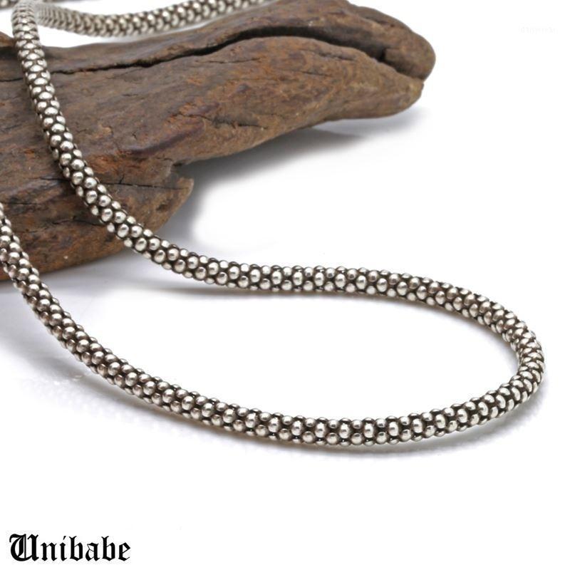 Чистое серебро 925 Стерлинговые Серебряные Мужчины Женщины Ретро Тайский 3 мм Толстые Кукурузные Ожерелье S925 Реальное Круглые Цепи Ожерелье Male1