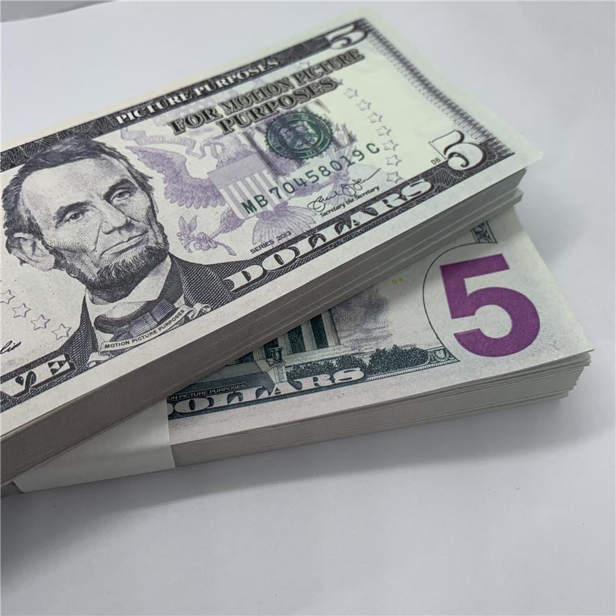 U.s.currence Copy Banknotes Кованые Детские Доллар Реквизит Бар 5 Съемка Банка Выступление Деньги F4 Игрушка Fake Hmwuu Ppupo