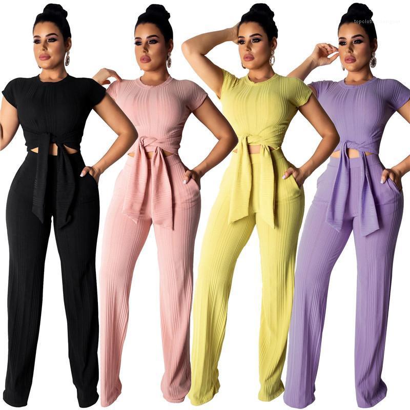 Pantolon Katı Renk Bandı Skinney 2 Adet Set Moda Rahat Seksi Kadın Giyim Giyim Bayan İki Adet