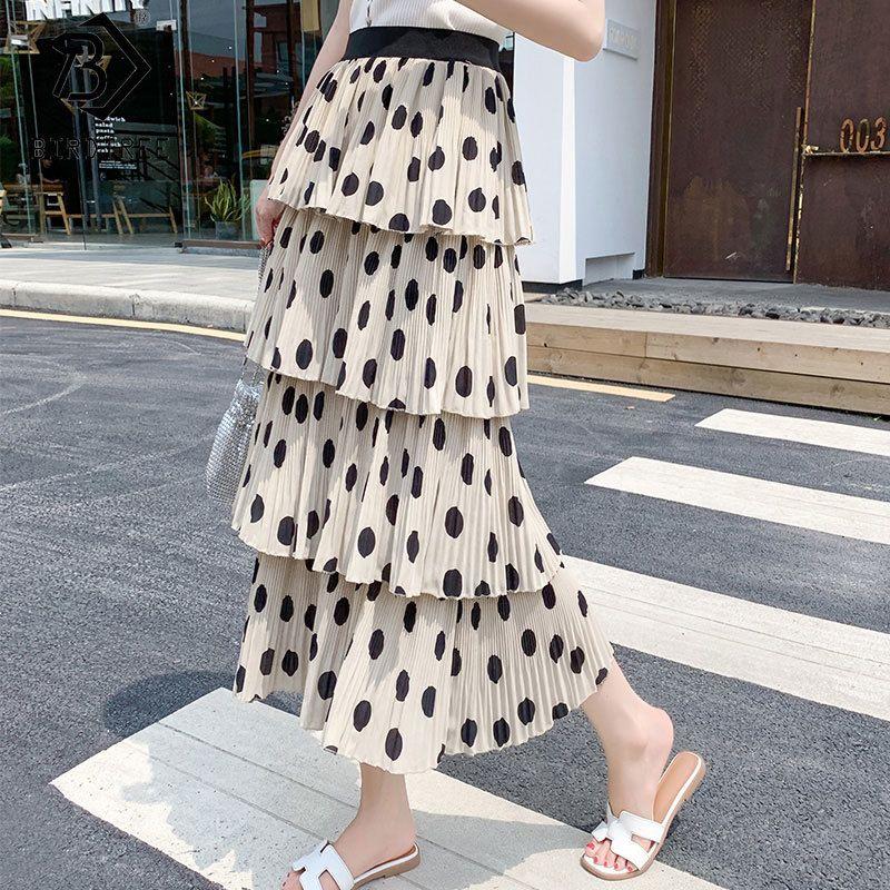 Yaz Bahar Moda Uzun Katmanlı Pileli Etek Polka Dot Baskı Etek Bayan Zarif Elastik Bel MIDI Etekler B0D116N Y1214