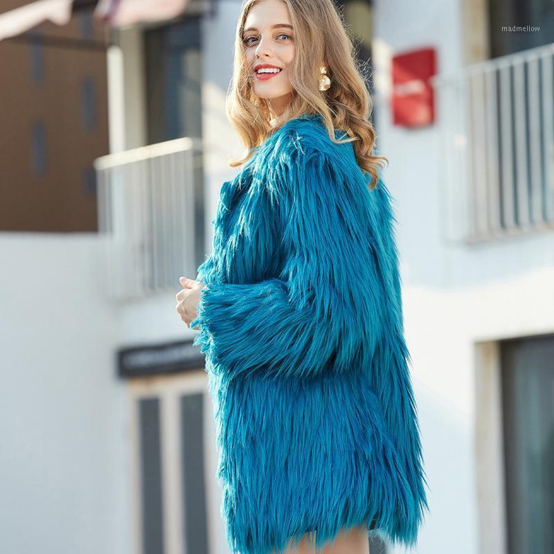 Piel de mujer Faux mujeres colorido abrigo caliente más tamaño Mongolia oveja peluche hembra chaqueta otoño invierno peludo ropa de abrigo 20211