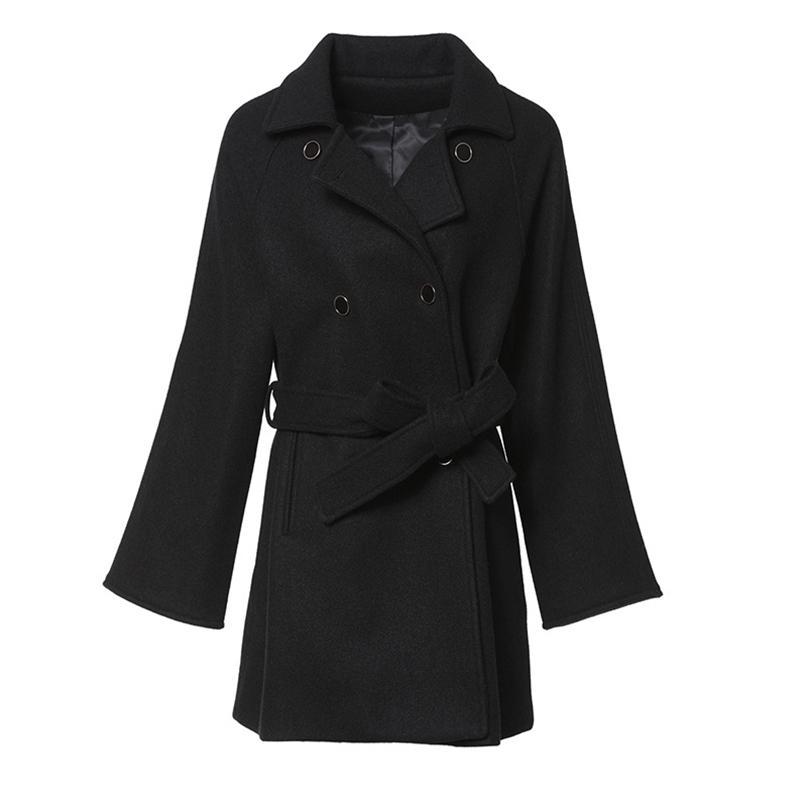 Yeni Kadın Avrupa ve Amerikan Tarzı Işık Olgun Saf Renk Çift Sıra Düğmesi Yün Ceket 201215