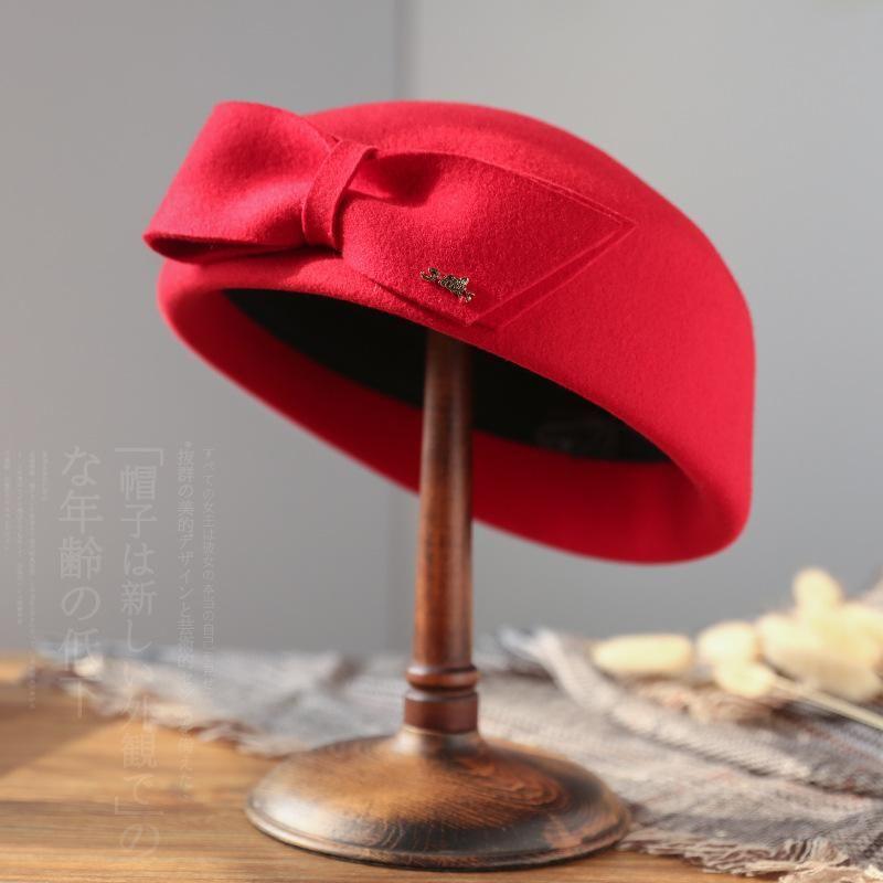 Stewardess Hat Hater Hat Shat осень / зима новая леди шерсть берет