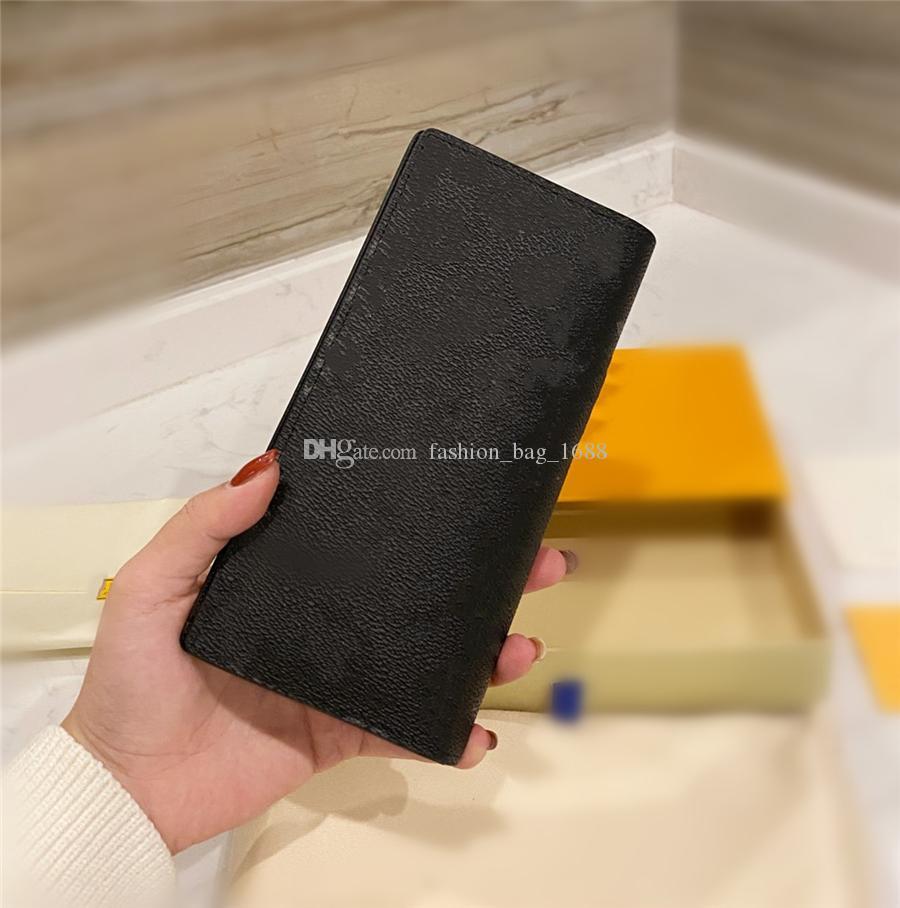 Diseñador de cartera larga de alta calidad Cuero clásico de cuero billetera de moda de cuero de moda bolso de dinero bolsa de dinero bolsa de bolsillo de bolsillo