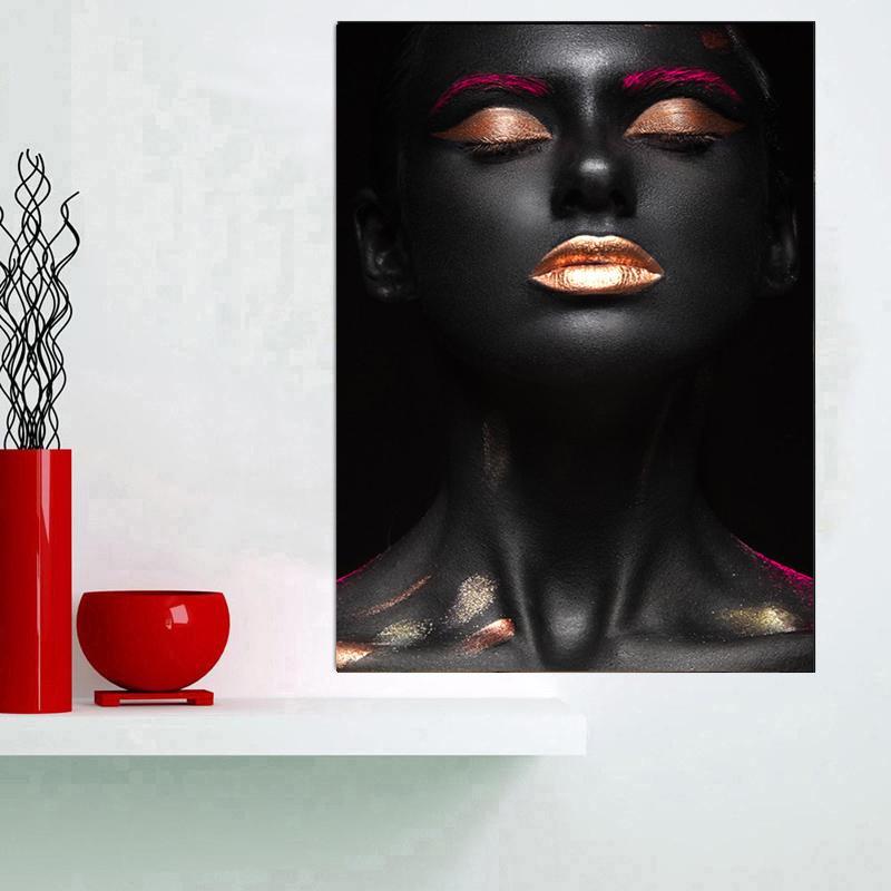 Обнаженная африканская женщина Индийский черный и золотой картины маслом на холсте Плакаты и печать Cuadros Wall Art Pictures Для гостиной