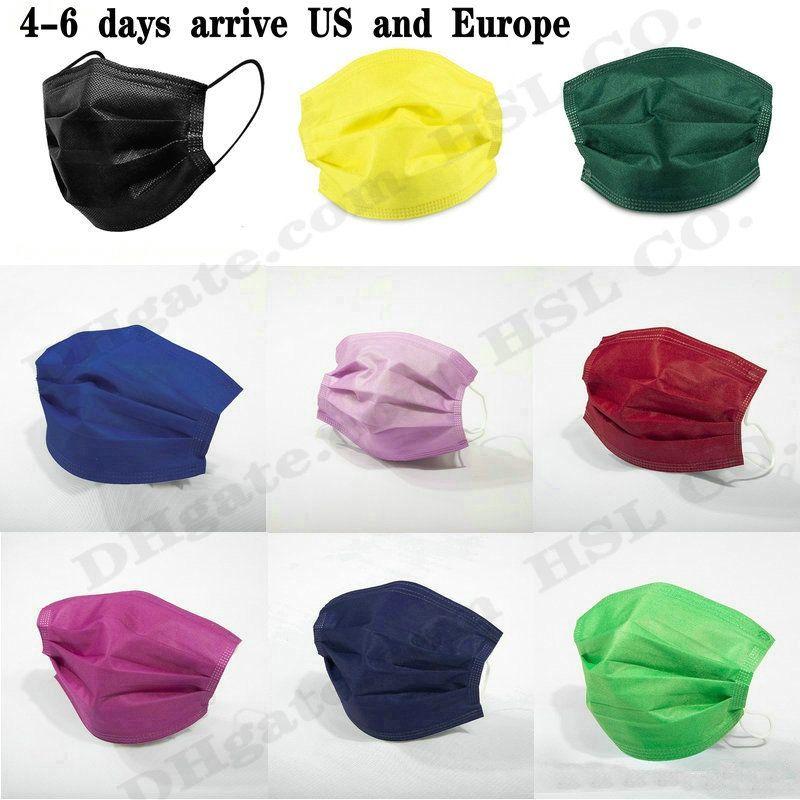 15 Farben-Mode Schablone 10pcs Kleinpaket Black 3 Schichten Non-Woven Einweg-Maske Gesichtsschutzschild Erwachsene Kinder auf Lager Großhandel