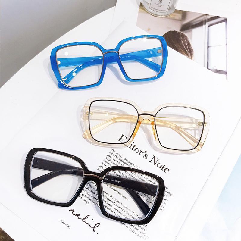 2021 Mode Übergroße Quadratisch Anti-Blue Brille Rahmen Frauen Computer Transparente Brillen Weibliche Brille Oculos Feminino