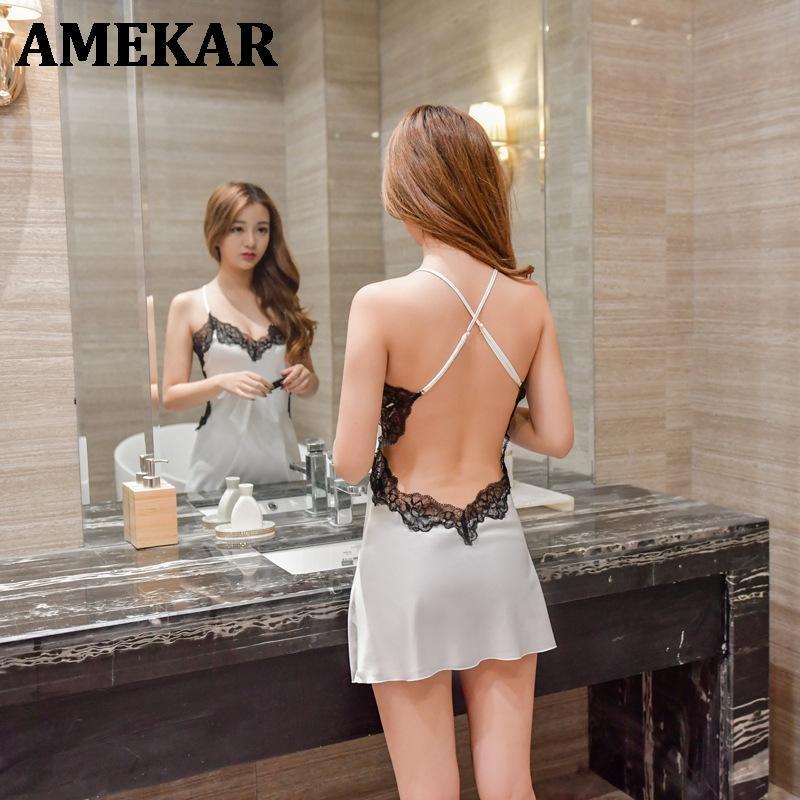 Camisón para mujer Inicio Use ropa de noche sexy ropa interior erótica ropa de dormir vestido de noche Silk Nightie 2021
