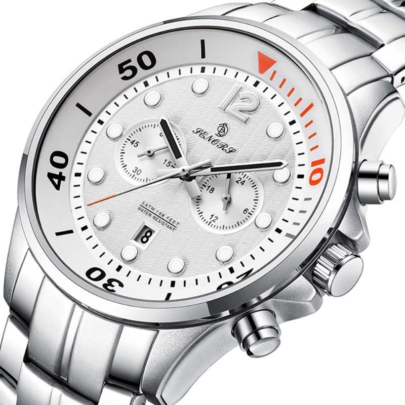 Orologio da polso Sport Chronograph Moda orologi da uomo in acciaio inox Acciaio inossidabile Watch Watch Watch White Saat Drop 2021