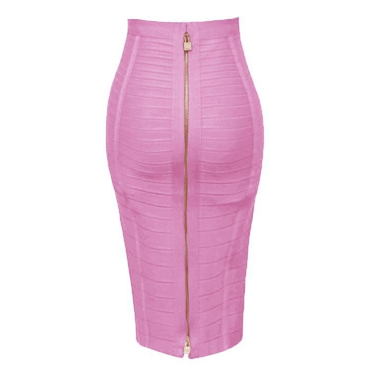 12 colores más tamaño xl xxl sexy sólido cremallera naranja azul negro vendaje falda mujeres elástica bodycon verano lápiz falda 58 cm MX190730