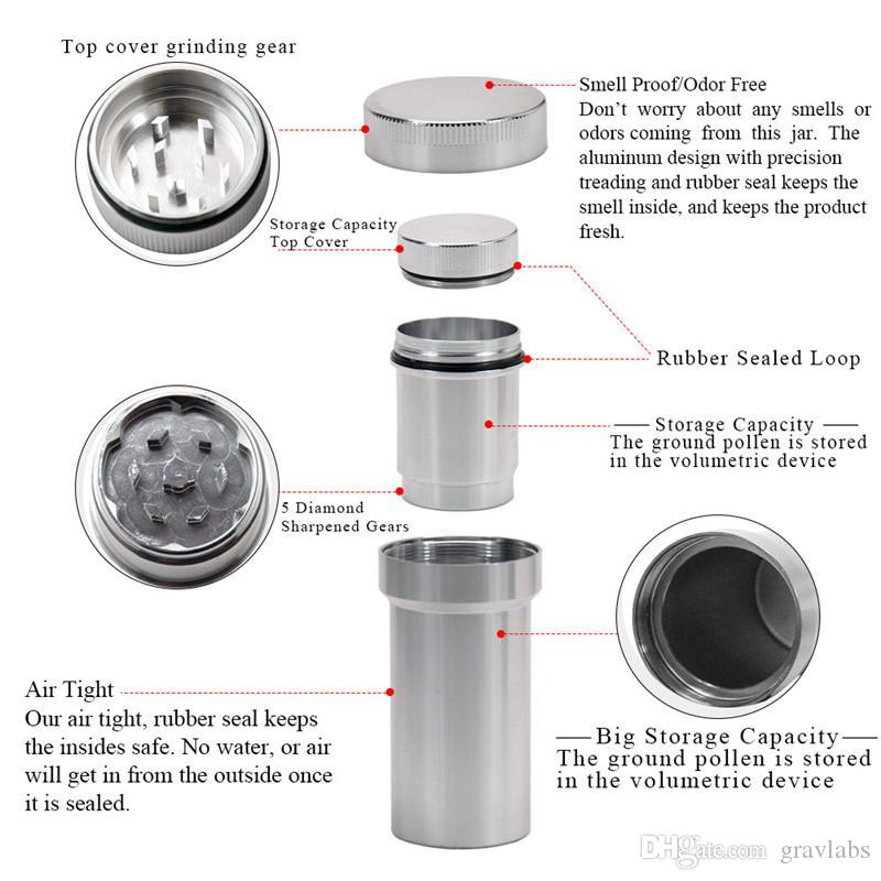 Aluminium alloy Grinders 42mm Herb Grinder Tobacco Grinders With metal dry herb Storage Container Herb Spice Crusher DHL free