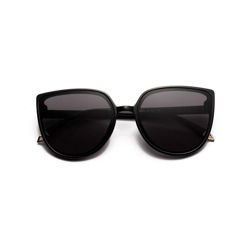 Damen schwarze Gläser auge sexy übergroß süße vintage luxus frauen mode rahmen sonnenbrille metall spiegel katze retro sonne uv400 dtlwh