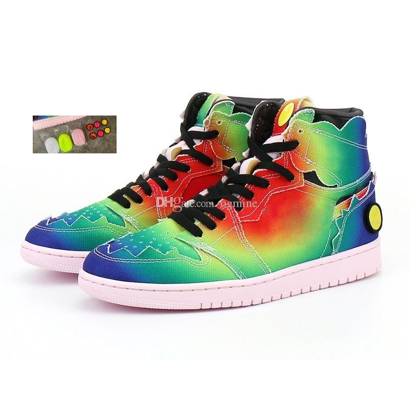 Box J Balvin Jumpman 1 High Og Jbalvin Basketball Shoes 1S 컬러 Y Vibras Tie 염료 멀티 컬러 여성 운동화 트레이너 48FB #