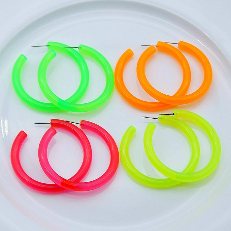 Piedsheep Neon Color Big Acrylic Hoop Pendientes para las mujeres Punk Fluorescente Green Green Round Hoops Areder Fashion Party Jewelry