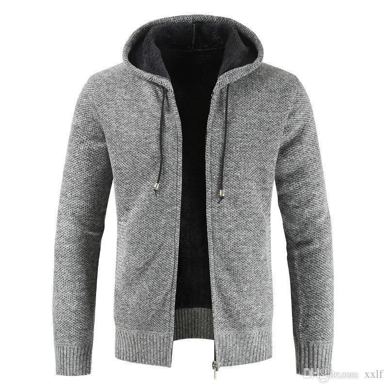 Winter Herrenbekleidung Bring Hut Strickjacke Strickjacke Lose Mantel Flut Erhöhen Dicke Dicke Dicke Langarm Strick Ungefüllter Pullover KG-944