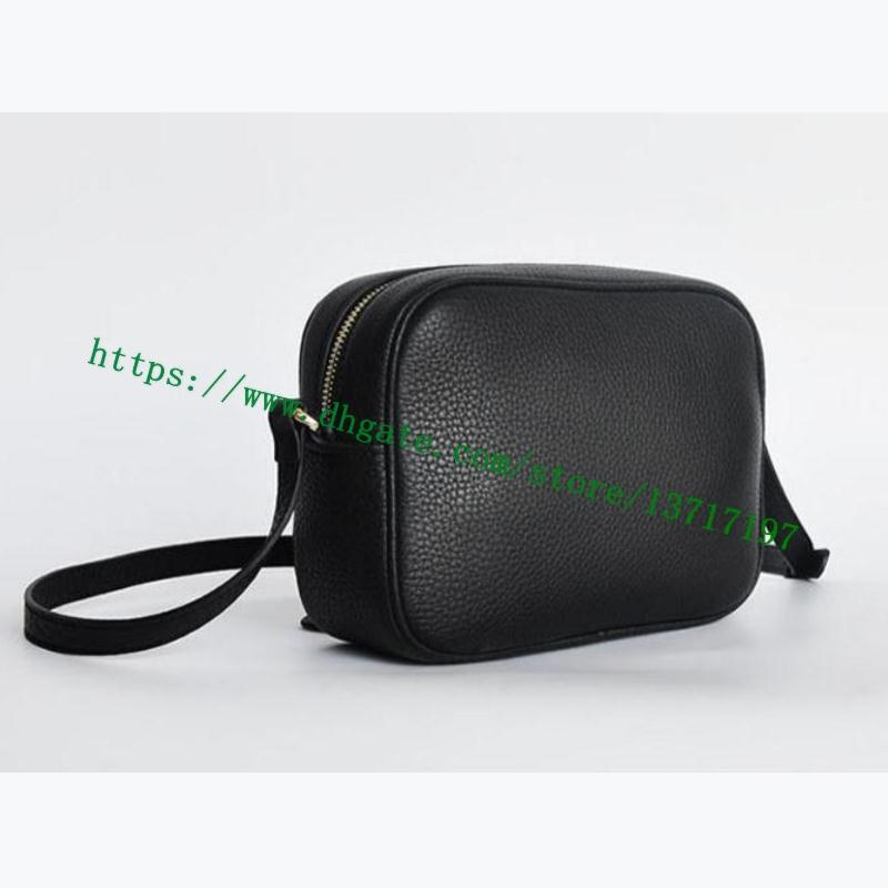 Лучшие сорт женщины тисненные буквы соуго маленький зернистый настоящий теленок кожа по течению Crossbody диско Компактная сумка мессенджер косметика 308364 черный