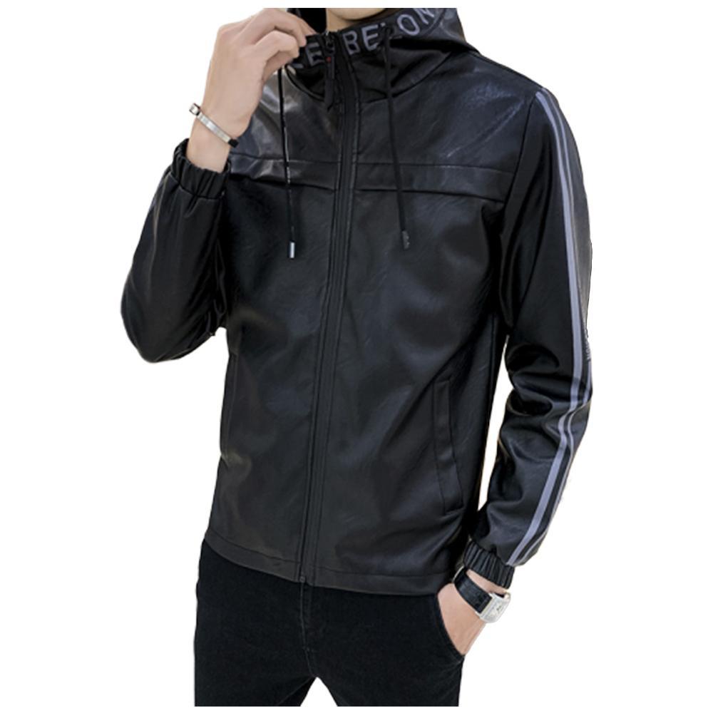 European American Neuf Spring et Automne à capuchon Vêtements de moto à capuchon pour hommes Loisirs Fit Fit Veste en cuir