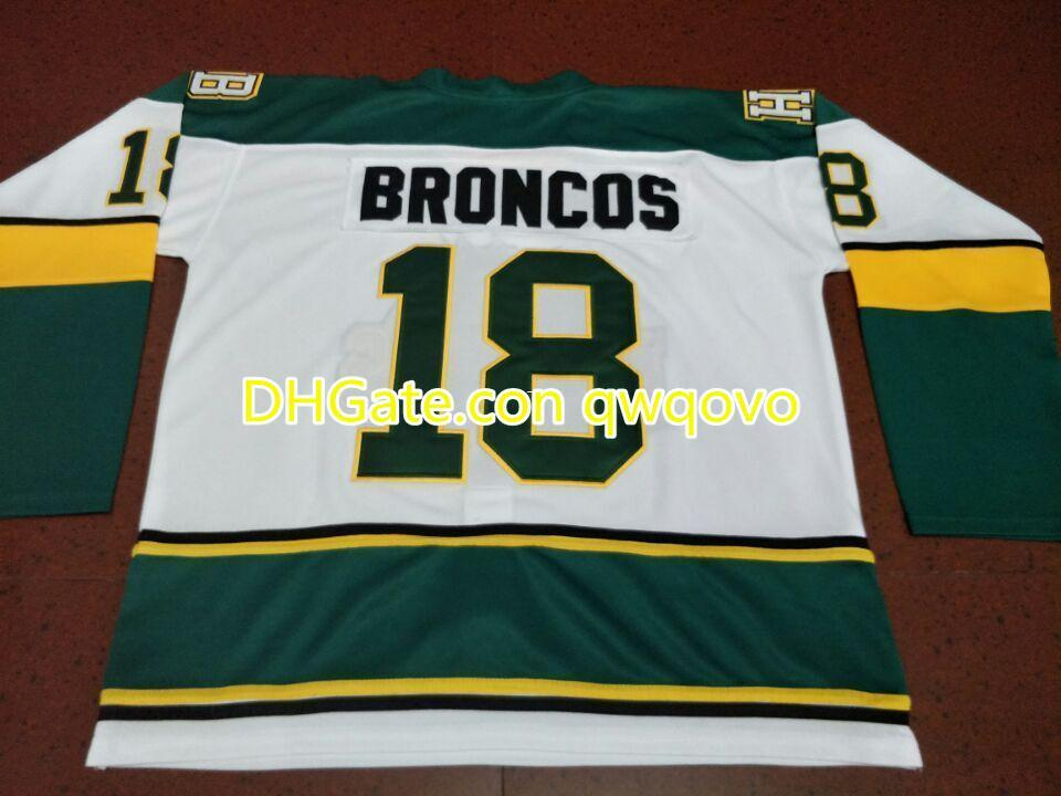 Nadir erkekler humboldtBroncos # 18 beyaz hokey forması veya özel herhangi bir isim veya numara retro jersey