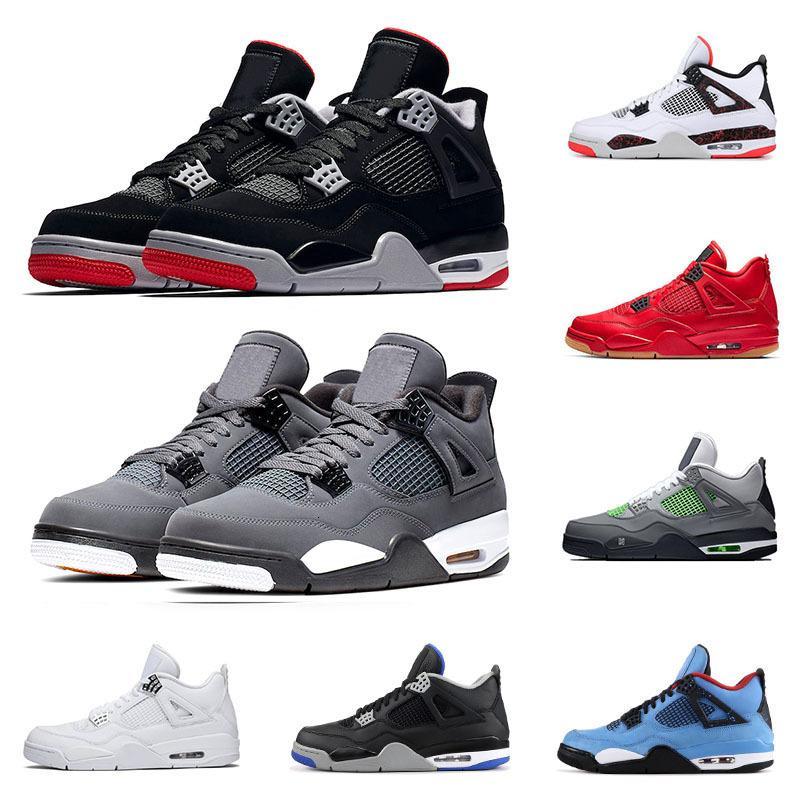 4 4S Basketball Chaussures Pour Hommes Bred Grey Cool Grey Qu'est-ce que le ciment blanc coup de chat noir joueur d'entraîneur sportif athlétique sport