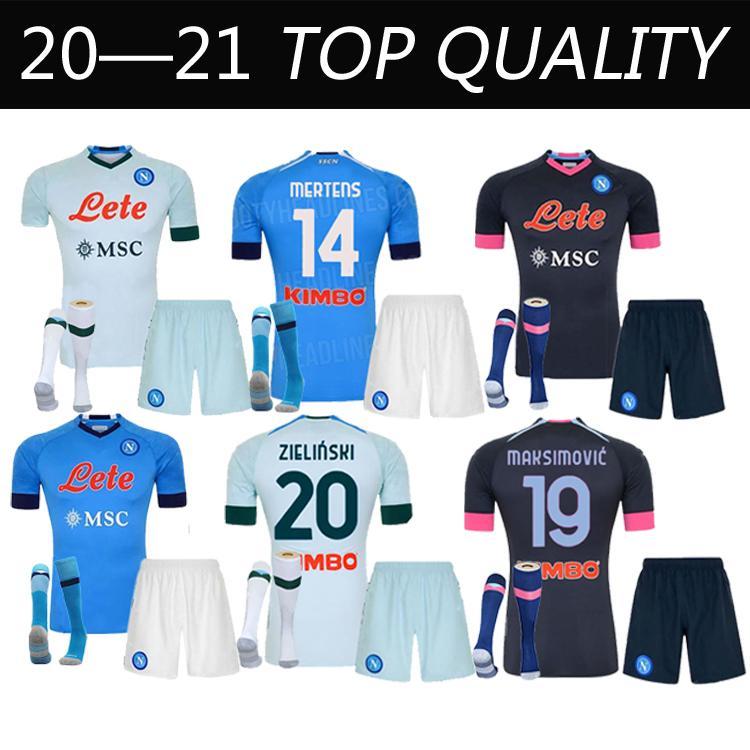 20 21 Napoli Soccer Jersey Nápoles Camisa de Futebol 2021 Koulibaly Camiseta de Fútbol Insigne Milik Maillots H.Lozano Mertens Adulto + Kids Kit