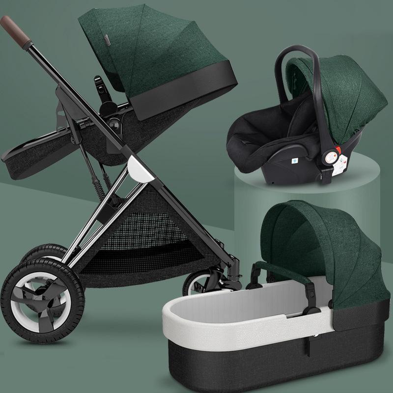 New Baby Stroller 3 In1, Cuatro ruedas Cochecito, 2 en 1 Coche para bebé, Carreras de recién nacido plegables de Kinderwagen, Cochecitos de altibajos