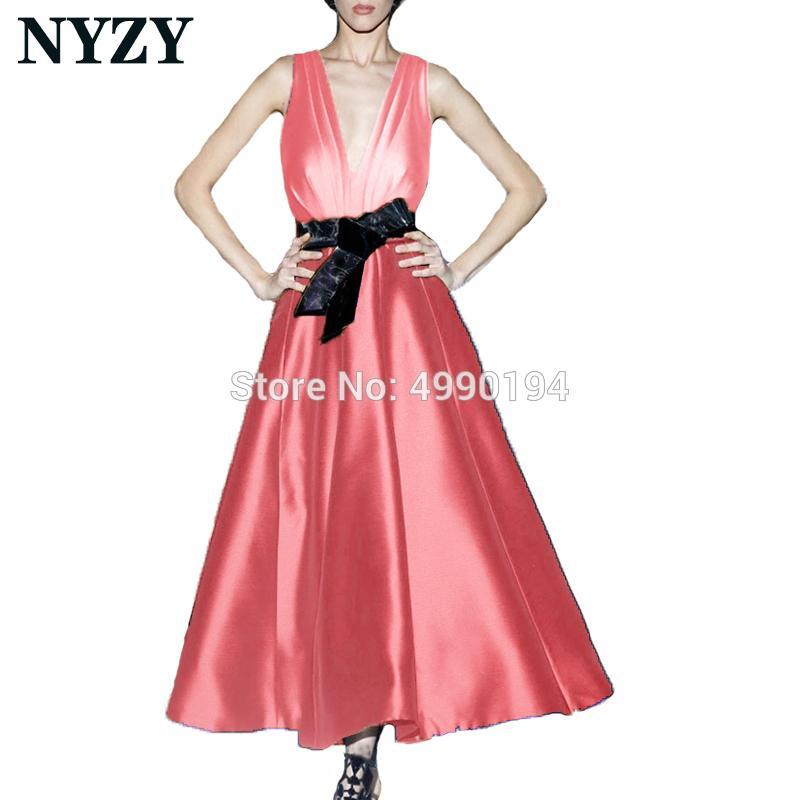 Elegant Vestido Festa Robe Cocktail Dresses NYZY C180H Coral Satin Black Bow Party Gown Formal Dress Homecoming Graduation
