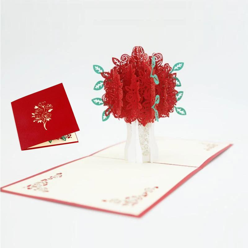 Love 3D Pop-Up Cards Valentines Day Gift Postcard with Envelope Stickers Wedding Invitation Greeting Cards Anniversary for Her E3343