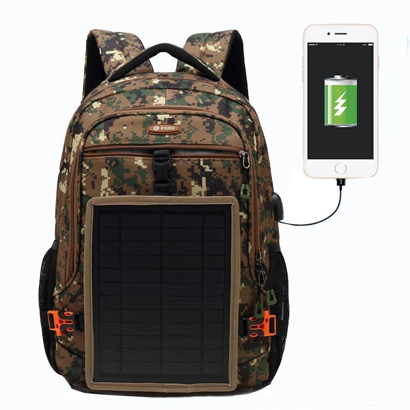 Solaraufladung Camouflage Klettertasche USB Sport Wandern Rucksack Survival Taktische Rucksack Männer Frauen Trekking Rucksack