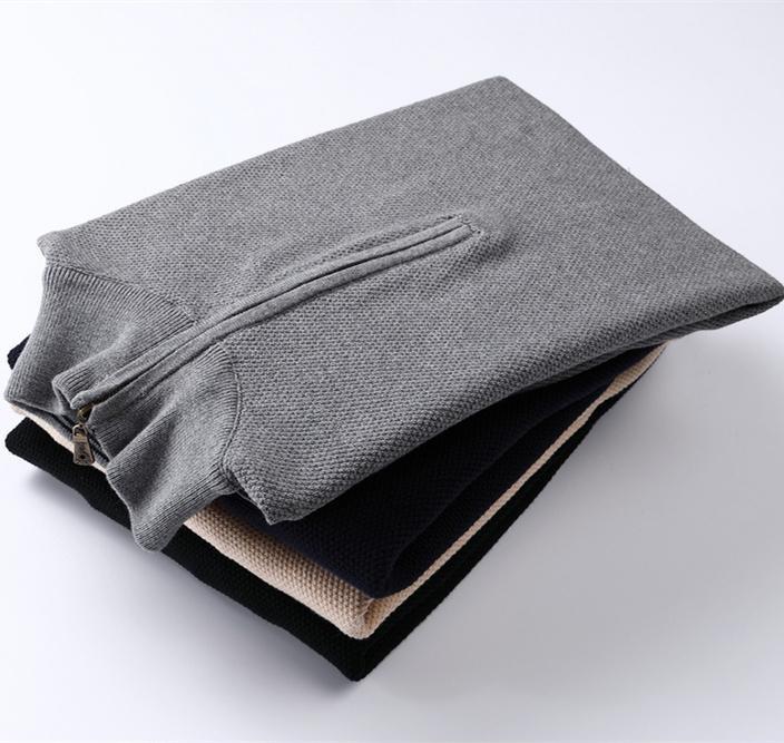 Alta qualità caldo piccolo cavallo mezzo cerniera in cotone cotone collare maglione maglione maglione jersey jumper hombre pull homme uomini maglioni maglia