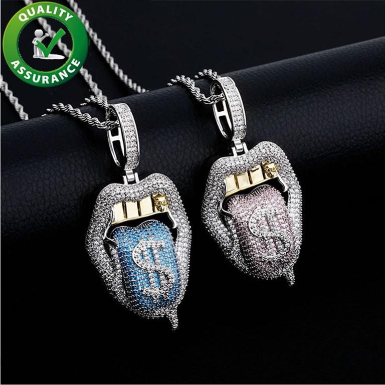 Gioielli da donna gioielli ghiacciati con pendente hip hop di lusso designer collana bling diamante esagerato Big Bocca con la lingua del dollaro fuori moda nuovo
