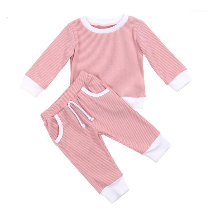 2 pcs moda meninas meninas meninos vestuário conjunto com nervuras algodão casual homewear manga longa tops + calças toddler infantil outfit sleepwear1