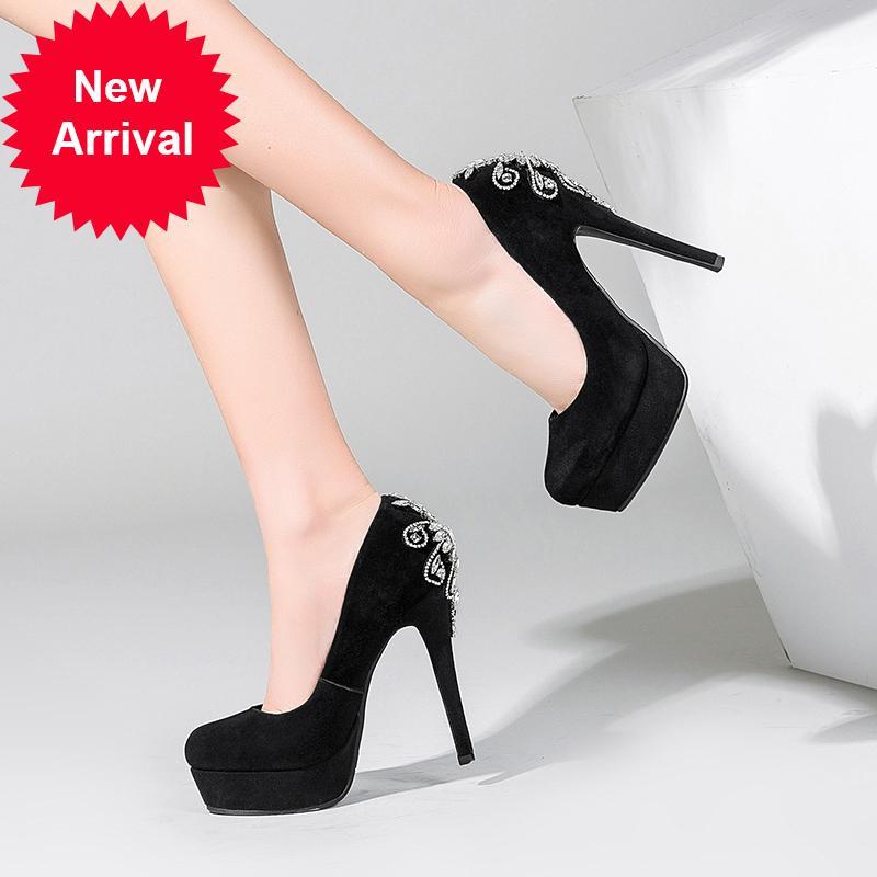 Estilo de festa chinesa Rodada dedo do pé de couro genuíno bombas de camurça de moda plataforma de cristal tão kate sapatos de salto alto estilete