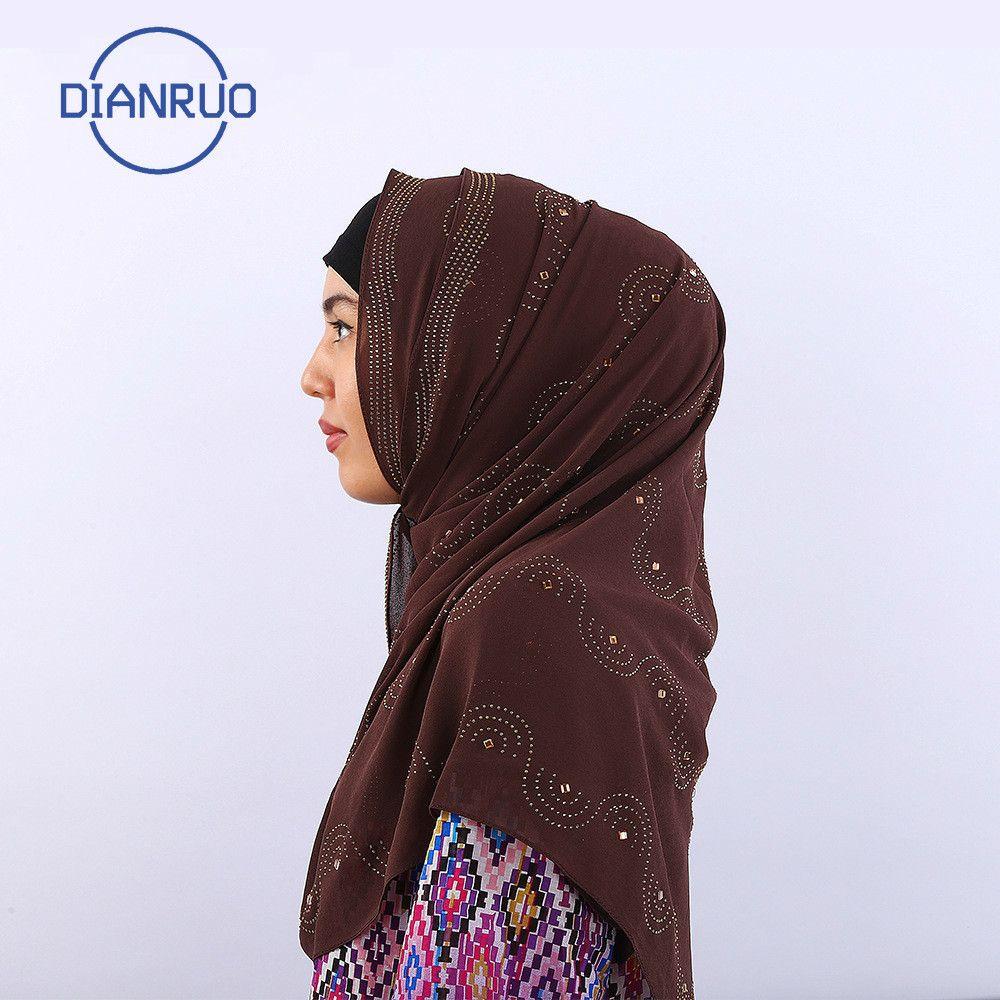 Dianruo Cotton Jersey Musulmana Sciarpa lunga con strass Modal Fountescarf Hijab Scialle arabo Arabo rettangolare headwrap N492 J1215