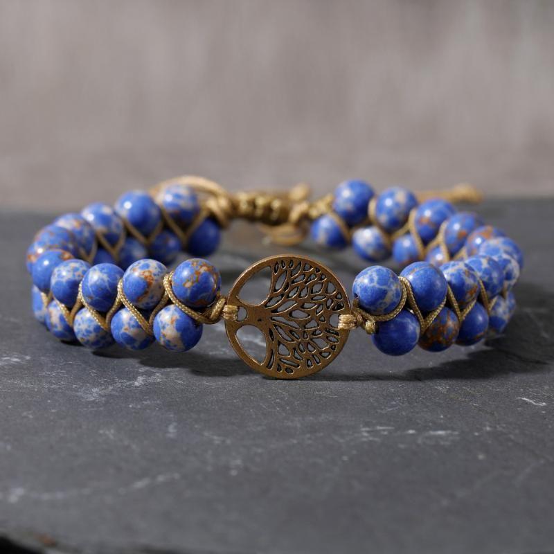 Tree of Life Charm 6mm Emperor Stone Hand Woven Bracelet Yoga Sports Bracelet Men and Women Friendship Bangle