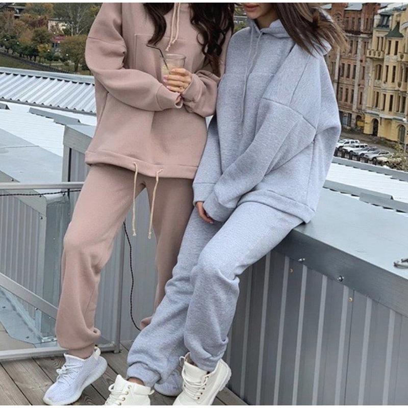 2020 Осенний новый Сплошной повседневный спортивный костюм Женщины 2 штуки Установите Флисовые толстовки с капюшоном и штаны наряды Негабаритные толстовки