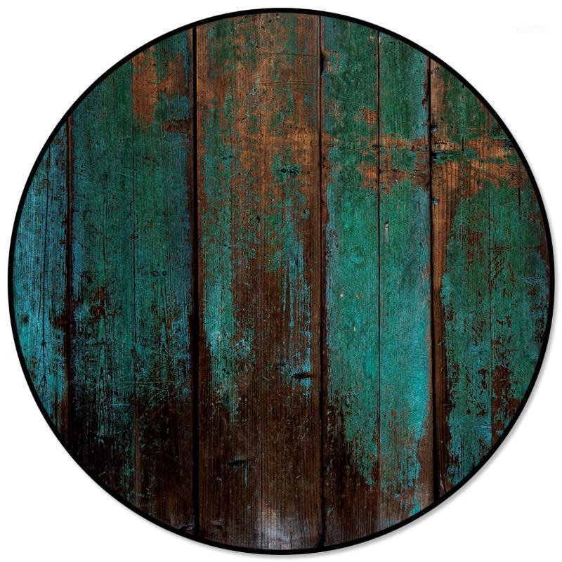 Textura de grão de madeira vintage Impressão em volta dos tapetes redondos para a sala de crianças grande área de tapete de tapete para quarto sala de estar casa decoração1