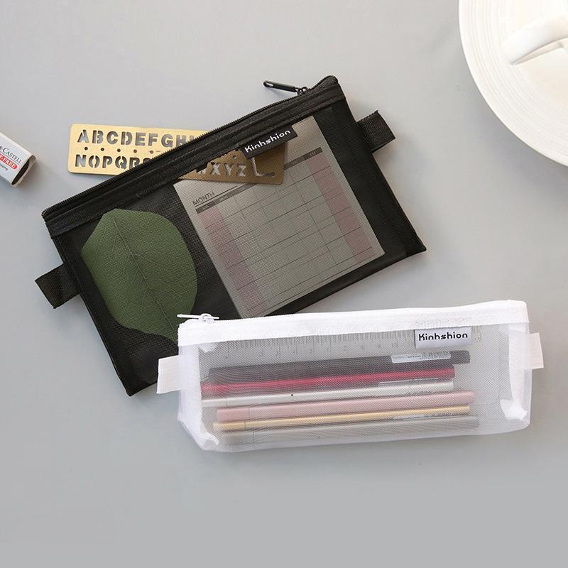 أكياس قلم رصاص واضح شاش حقيبة سستة مستحضرات التجميل المكياج حالة كبيرة الحقيبة النسيج الكورية القرطاسية أسلوب بسيط 1