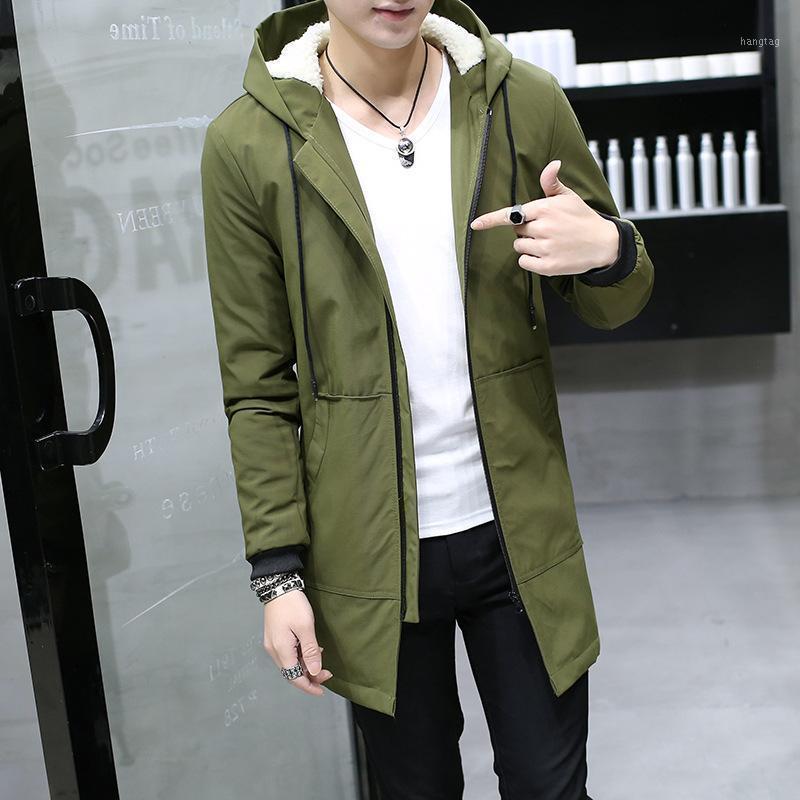 Мужская пункт Parkas мода зимняя мужская длинная куртка с капюшоном Slim Fit Plus плюс бархатное пальто Cashmere мужской хлопок ветрозащитный ветрозащитный