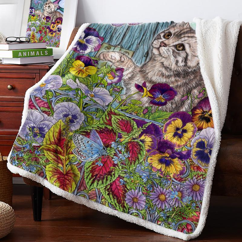 Chaton Butterfly Flowers Fleurs Feuilles Jet Couverture Couvre-lit Couvre-couvre-lit doux Couverture de décoration de Noël Decor de Noël pour lits