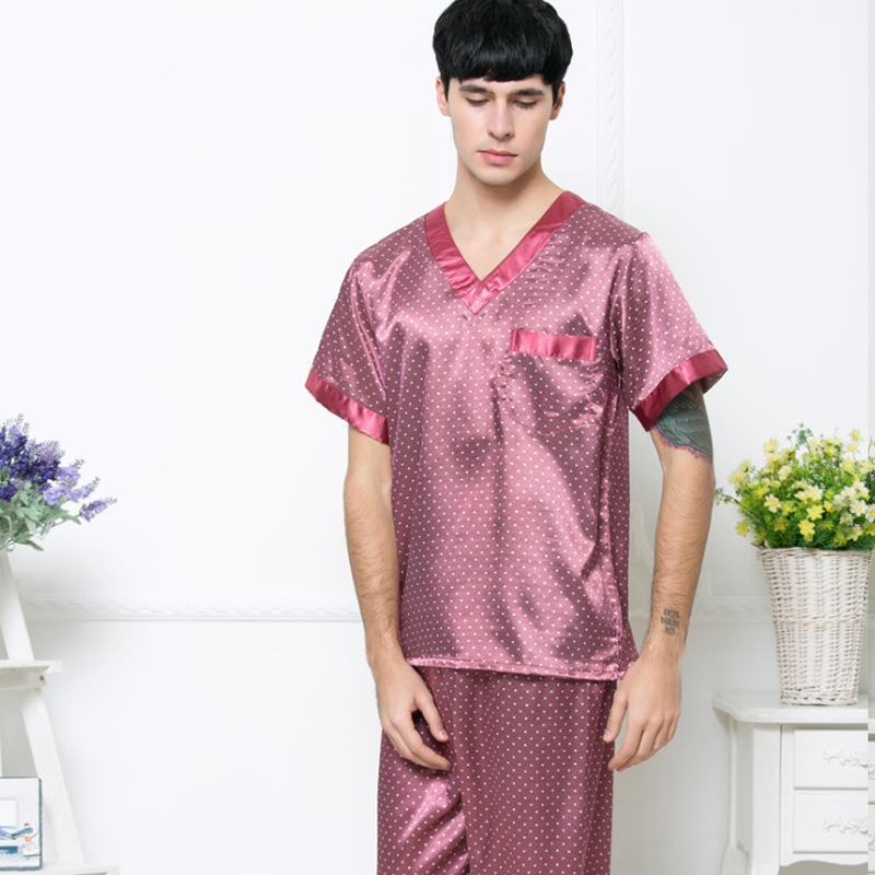 SAMWESTART erkek lekesi ipek pijama setleri sonbahar erkek pijama v yaka kısa kollu pantolon rahat ev telleri seti polka dot1