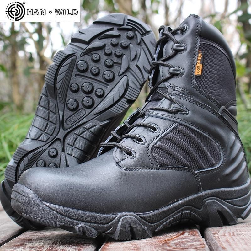 Männer Taktische Militärstiefel Winter Echtes Leder Wasserdichte Gummiarbeit Schuhe Herren Kampf Ankle Army Boots 201126
