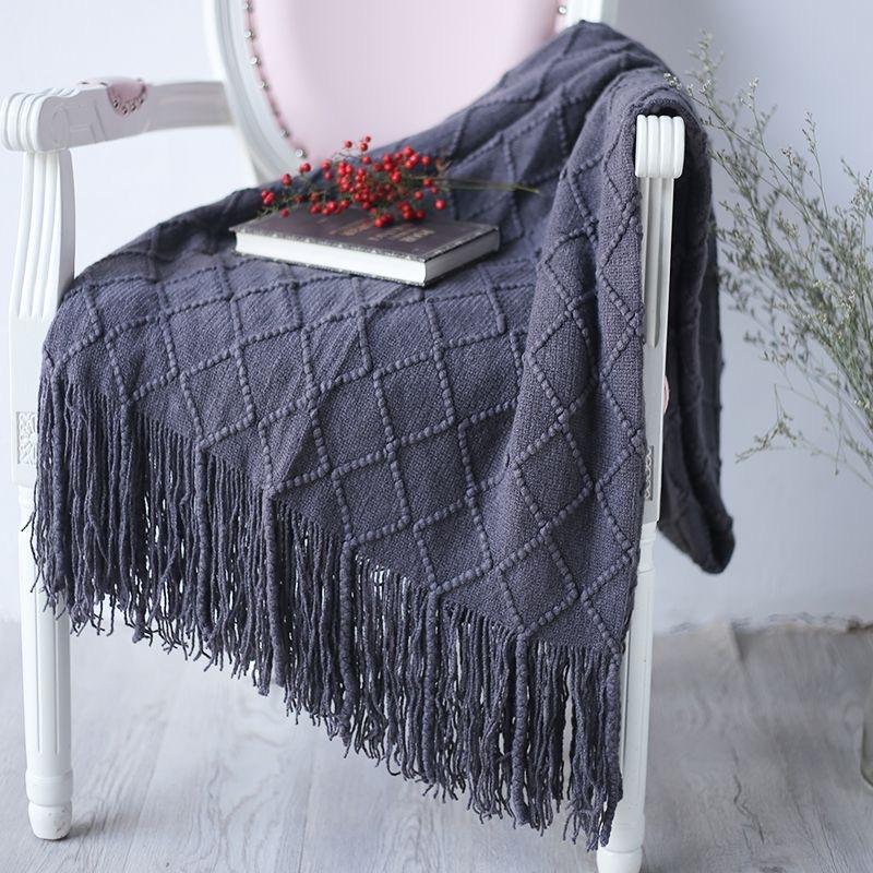 Knitted Throw Travel Blanket Grey Yellow Black Grey Sofa Throw Blanket Tassels Air Condition 170x127cm