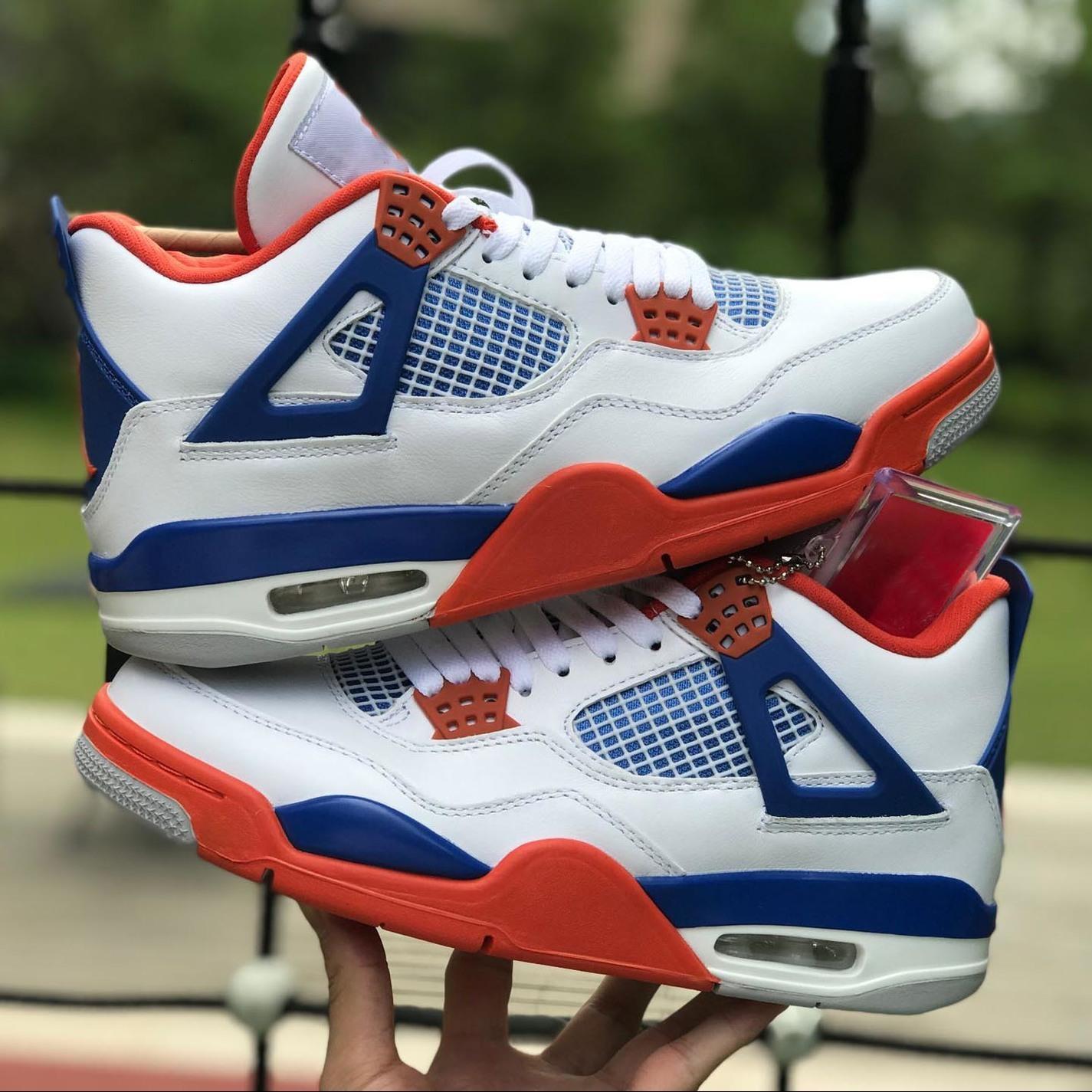 Новые 4 4s белые синие красные баскетбольные туфли мужские наружные тренажеры спортивные кроссовки размер нас 7-13
