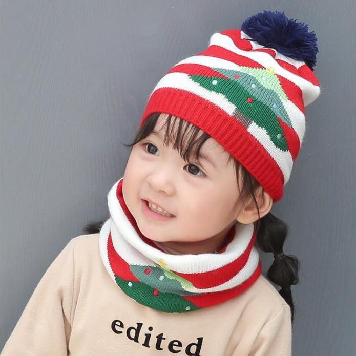 حار هدية عيد الميلاد قبعة قبعة القبعات وشاح قطعتين مجموعة للطفل الفتيان والفتيات الأطفال متماسكة متماسكة الشتاء قبعة الرقبة وشاح لمدة 1-5y أطفال dwe