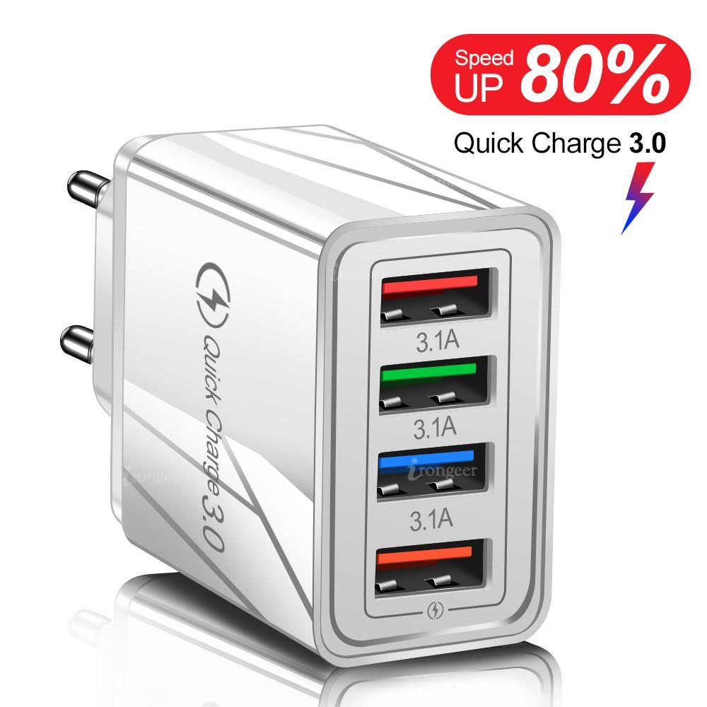 USB 충전기 빠른 충전 4.0 3.0 3.1a 삼성 iPhone 11 7 x 4 포트 휴대 전화 용 빠른 충전 전원 어댑터