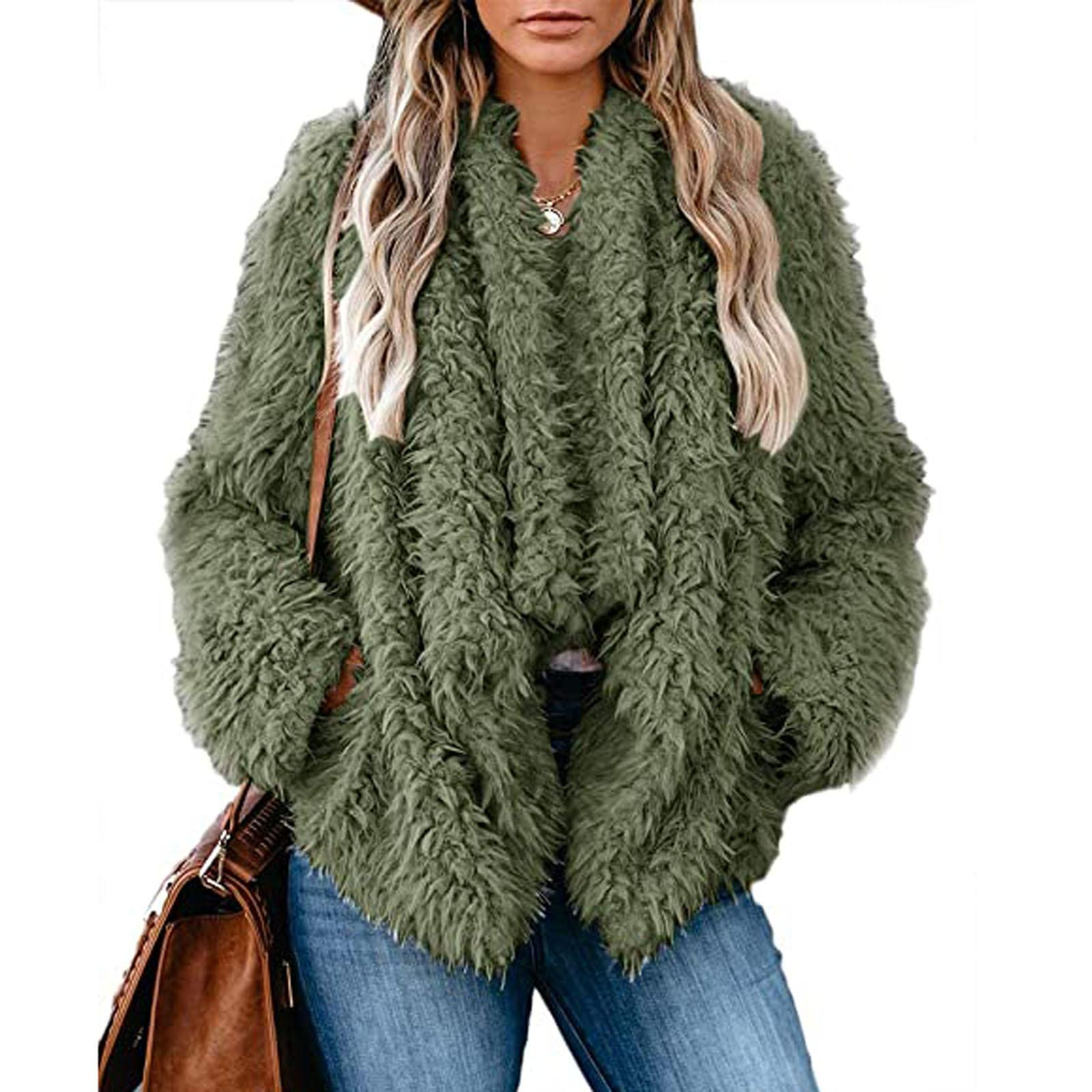 Europe and America Cross Border Womens Loose Thickened Fleece Solid Color Long Sleeve Coat in Currently Available Wholesale