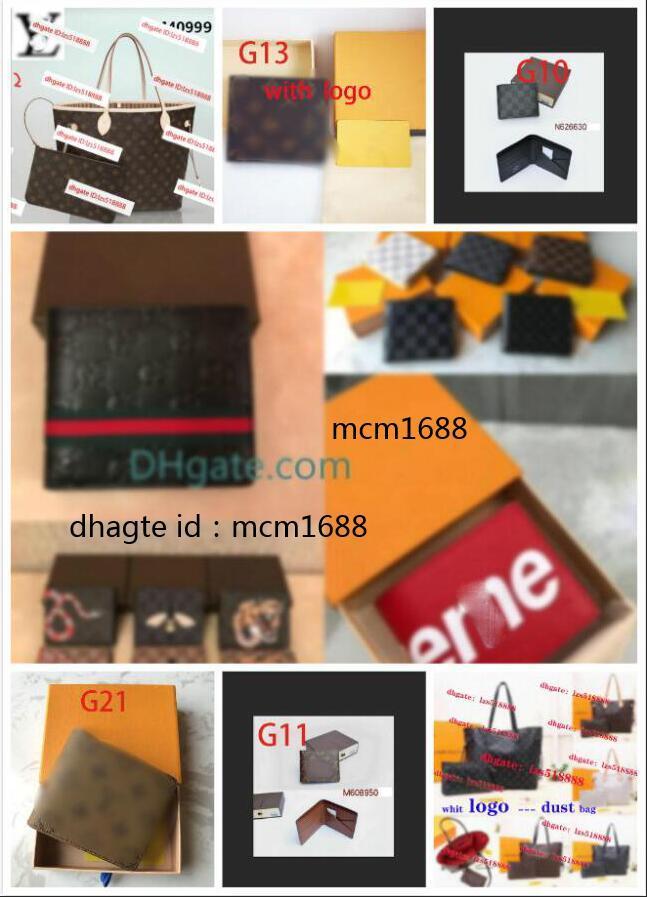 2021 New Bag Envío gratis Billfold de alta calidad Patrón de Plaid Modelo Mujer Cartera Hombres Pures Billetera de diseño de alta gama con caja